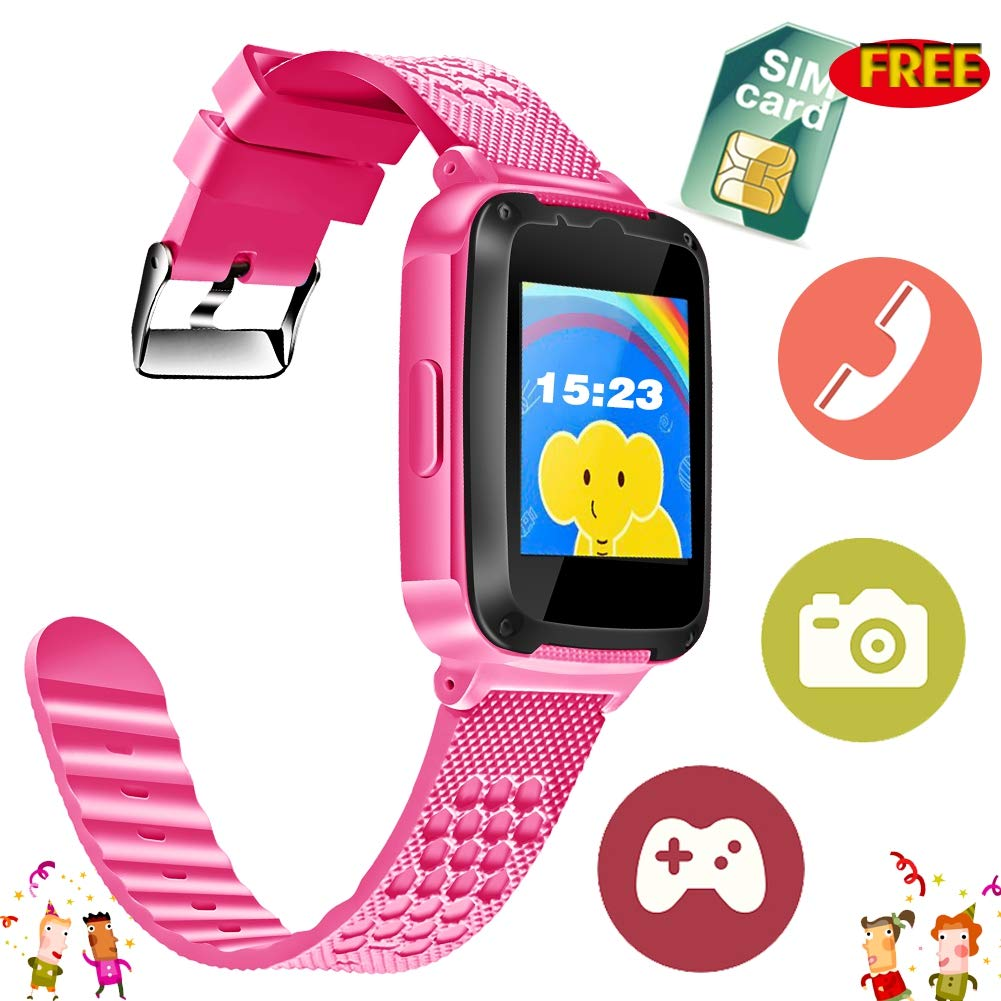 Kids Smart Watch Phone - [Speedtalk SIM Included] Kids Smartwatch for 3-14 Year Boys Girls Touch Screen Camera Game Sport Outdoor Digital Wrist Cellphone Watch Bracelet for Summer Holiday School Gift