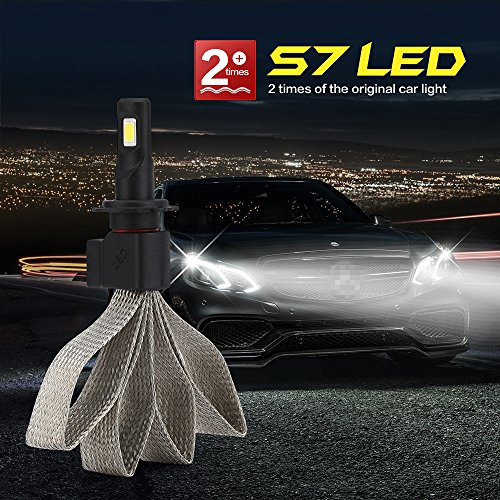 Atuo Car LED Headlight Bulb,S7 Focus Light Spotlight Beam Headlamp Convertion Kit 60W 6400LM 6000K-Pure White COB LED Chips All-In-One IP68 Waterproof(Pack of 2) (9006) (Focus Light Bulb Lamp)