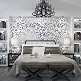 GSYH Textured 3D Wallpaper, Modern Upgraded Environmental Protection Non-woven Fabrics Wall paper, Wallpapers Stickers for Bedroom Living room and TV Background, 21.6 x 393.7Inch,Silver