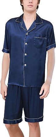 Dolamen Pijamas para Hombre Satén, Hombre Parejas Primavera Verano Camisones Pijamas de Parejas Ropa de Dormir, Collar con Bolsillo con Botones