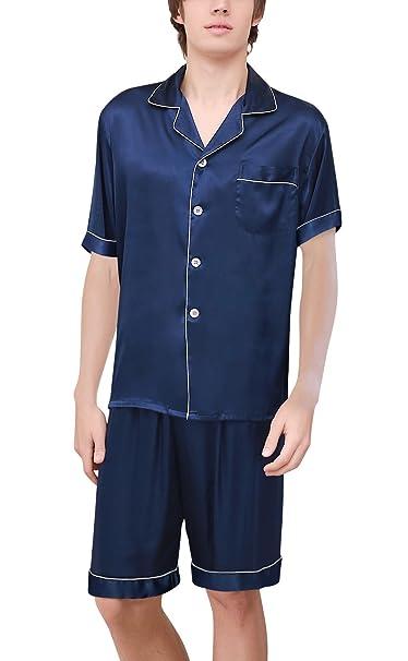 Dolamen Pijamas para Hombre Satén, Hombre Parejas Primavera Verano Camisones Pijamas de Parejas Ropa de