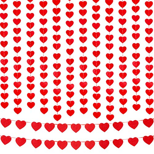 Blulu 8 Sets Heart Hanging Garland Valentine Heart Garland Heart Shaped Banner with Ribbons for Wedding Birthday Party Decoration, 2 Styles