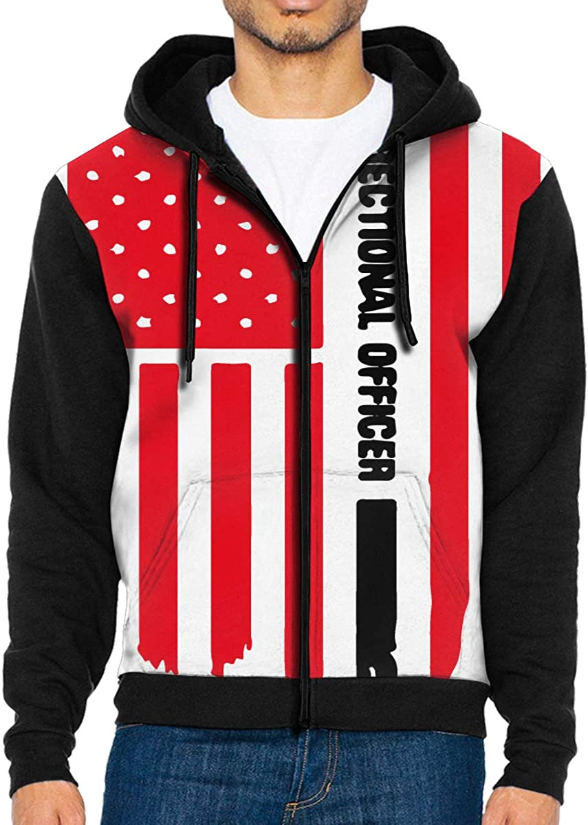 LD6DBGK Thin Silver Line Correctional Officer Mens Full Zip Hooded Sweatshirts Outwear