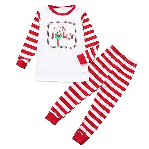 af7e502ba2 FEDULK Matching Family Christmas Pajamas Stripe Print Holiday Sleepwear  Nightwear Kids Pjs Sets(White