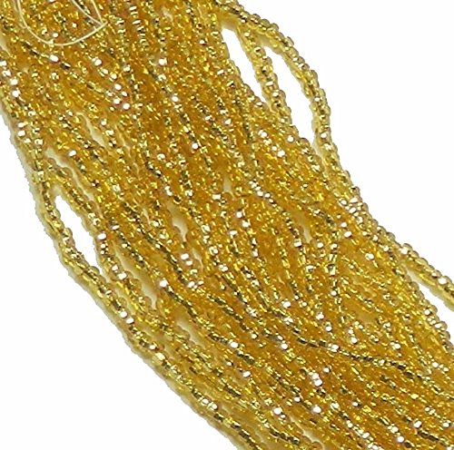 (Czech 6/0 Straw Gold Silver Lined Seed Bead on Loose Strung 6 String Hank Approx 900)