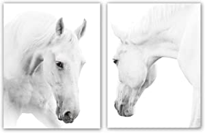 "White Horse Art Print Set Of 2 (12""X16""), Wild Horse Artwork, Animals Pictures of Horse Black White Canvas Wall Art For Bedroom Decoration, Minimal Pint Home Decor, No Frame"