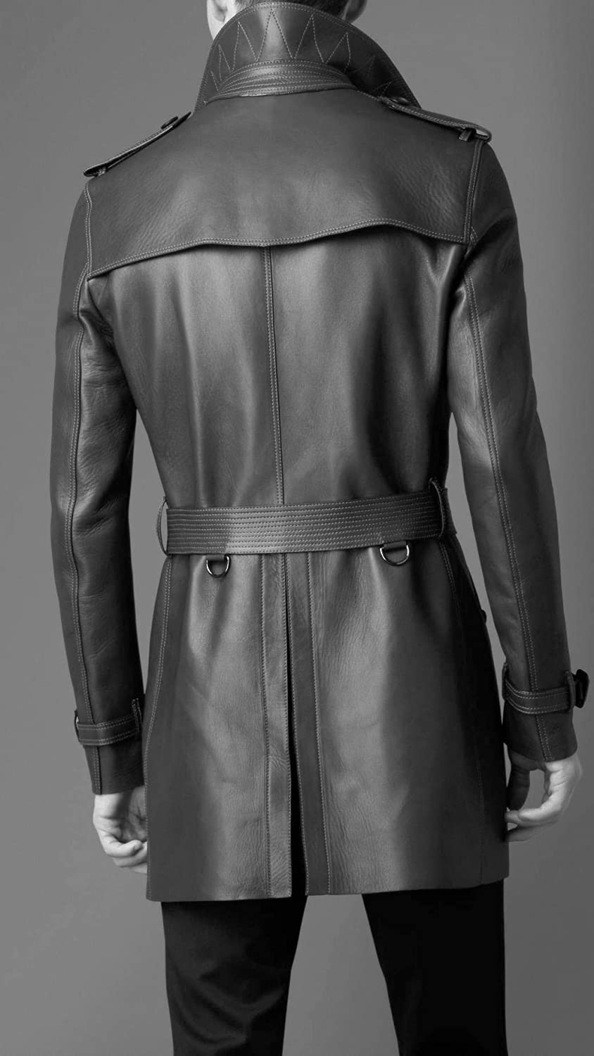 Leather Hubb Mens New Zealand Black Lambskin Classic Leather Long//Trench Coat