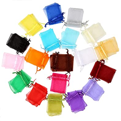 Locisne Paquete de 120 Bolsas de Organza, 20 Colores Bolsas Favor de La Boda Fiesta de Envoltura de Regalos Bolsas de Dulces Bolsas de Joyería Bolsas ...