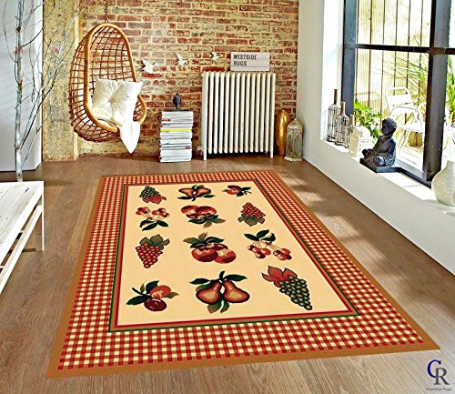 Champion Rugs Fruits Apple Grapes Pears Cherries Fruits Kitchen Area Rug (3' 11