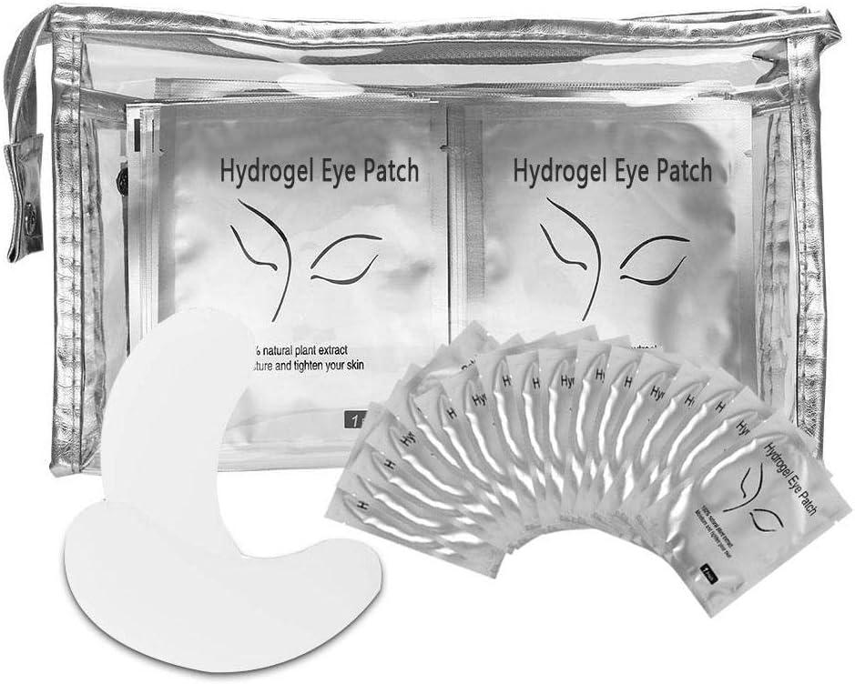 Set de 100 pares de almohadillas para los ojos, parche de gel profesional para pestañas, extensión de pestañas, herramienta de belleza sin máscara para los ojos, sin pelusa, con bolsa de cosméticos tr