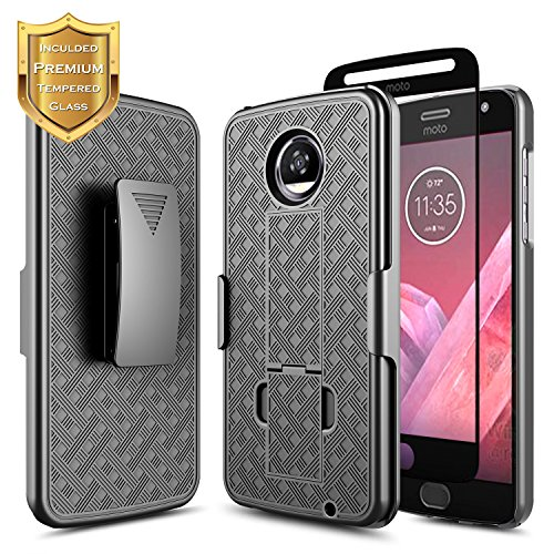 Moto Z2 Play / Z2 Force Belt Clip Holster Case w/[Full Coverage Tempered Glass Screen Protector], NageBee Combo Shell & Holster Ultra Slim w/Built-in Kickstand Shockproof Rugged Case -Black