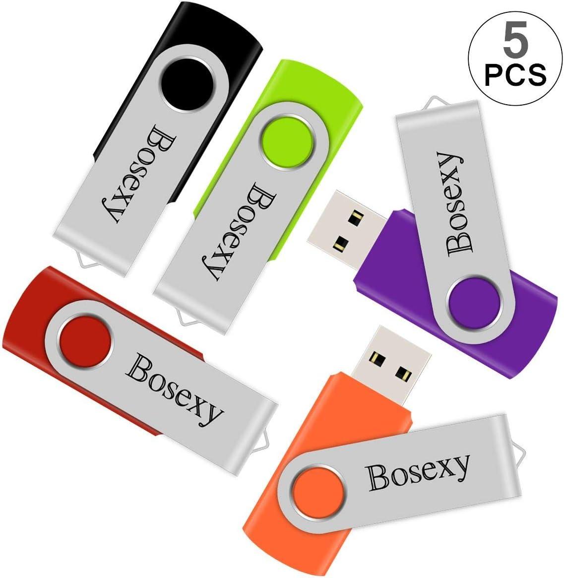 5PCS 8GB USB Flash Drive Swivel USB Memory Stick Flash Pen Drive for Desktop Mac