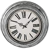 Brookwood 20″ Antique Silver Round Wall Clock For Sale