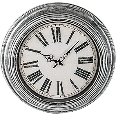 "Brookwood 20"" Antique Silver Round Wall Clock - Measures 20"" Diameter Antiqu Silver frame with Black accent Requires 1 AA Basttery (not included) - wall-clocks, living-room-decor, living-room - 61sJh1aIu0L. SS400  -"