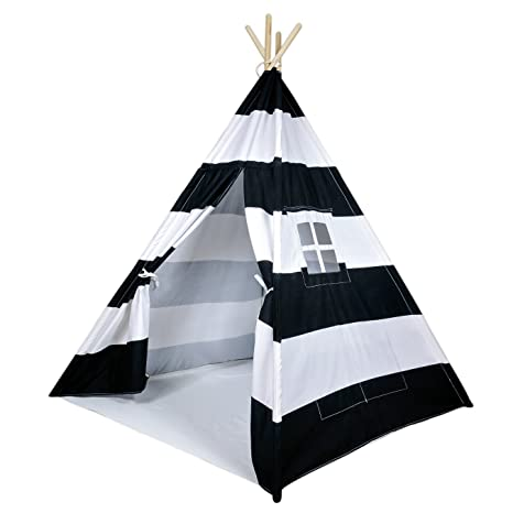 info for bc166 b509c A Mustard Seed Toys Striped Kids Teepee Tent - Portable Canvas Tent, No  Extra Chemicals, Includes Carrying Case (Black)