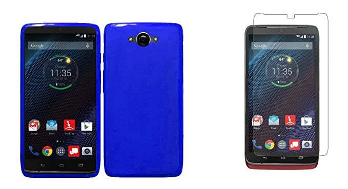 Motorola DROID Turbo - Blue Flexible TPU Slim Fit Gel Skin Cover Case + ATOM LED