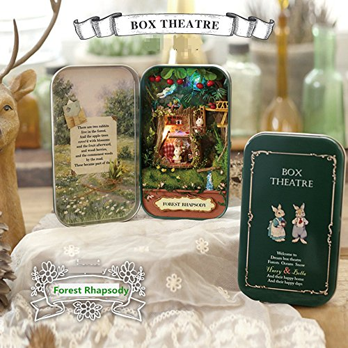 Elloapic Mini Dollhouses Handicraft DIY Dollhouse Mini Box Theatre Art Gift For Kids Girlfriend Birthday Wedding Valentine's Day New Year with tool Knife, tweezers, ruler - Forest Rhapsody (Tools Rhapsody)