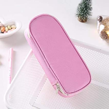 Estuche escolar para lápices de color sólido para niñas y niños, estuche grande para lápices, bolsa de material escolar Kawaii, color rosa: Amazon.es: Oficina y papelería