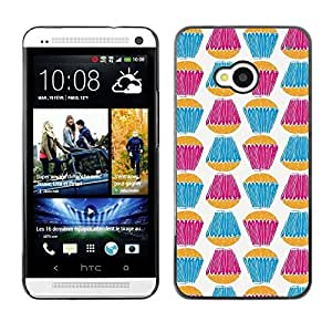 Be Good Phone Accessory // Dura Cáscara cubierta Protectora Caso Carcasa Funda de Protección para HTC One M7 // Teal Purple White Sweets Baking