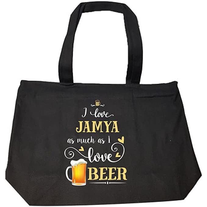 955fb2029c Amazon.com  I Love Jamya As Much As I Love Beer Gift For Him - Tote ...
