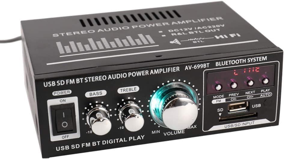 Docooler 12V// 220V Mini Audio Amplifier 2CH LCD Display HIFI Audio Stereo Power Amplifier BT FM Radio Portable Car Home 400W Remote Control Audio Amplifier