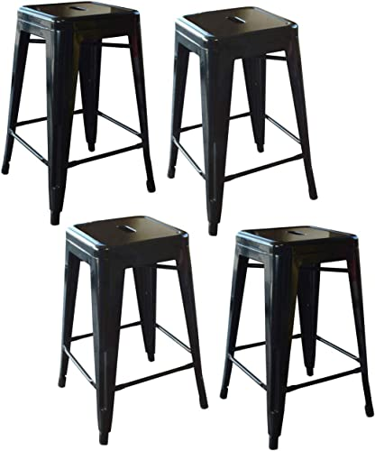 Buffalo Tools 24 in. Metal Barstool in Black – Set of 4