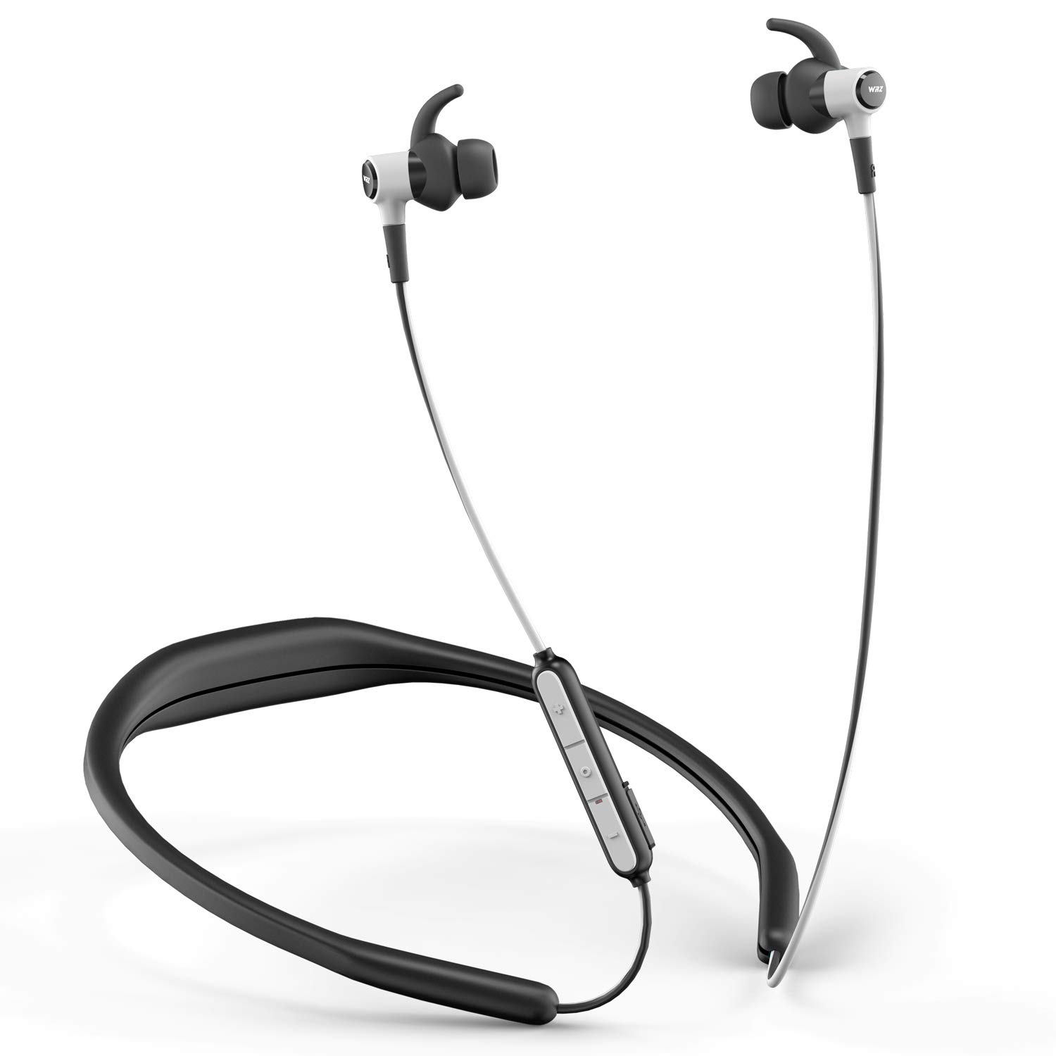 WRZ N5 Wireless Headphones Bluetooth with Microphone and Volume Control, Running Earbuds Sports Stereo Waterproof Detachable Neckband for Cellphone iOS Android Smartphone Laptop Tablet (Black White)