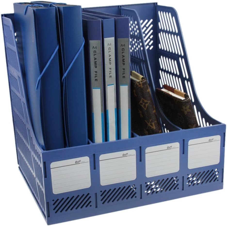 Clobeau Heavy Duty Four Sections File Rack Paper Magazine Holder Home Office Desk Book Sorter Storage Hanger Tidy Dispay Bin Desktop Shelf File Dividers Cabinet Document Tray Organizer Box