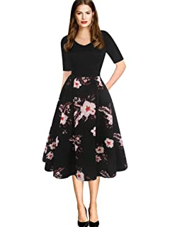 de9be1d588d5 oxiuly Women's Vintage Elegant V-Neck Casual Party Cocktail Swing Work Midi  Dress with Pockets