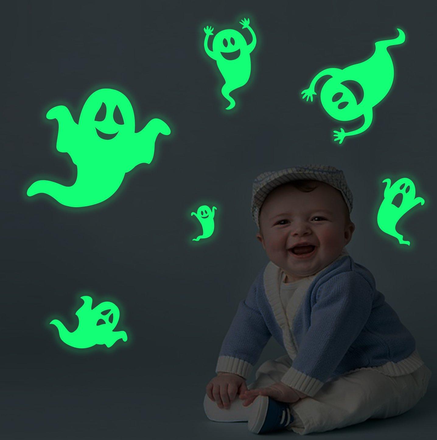 Lamdgbway Halloween Lumineux Muraux Autocollants Brille dans le noir Maison Décoratif Fluorescent Autocollants 6pcs Fantômes