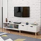 简约现代电视柜茶几组合北欧小户型地柜迷你家具伸缩电视机柜 (暖白色(电视柜))