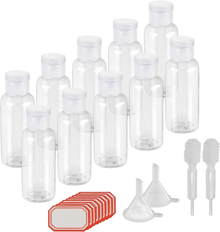 KAKOO 10 pcs de Set Bote hermético 50ml de Botella rellenables plástico de Bote pequeño para Viaje en avión (Transparente)