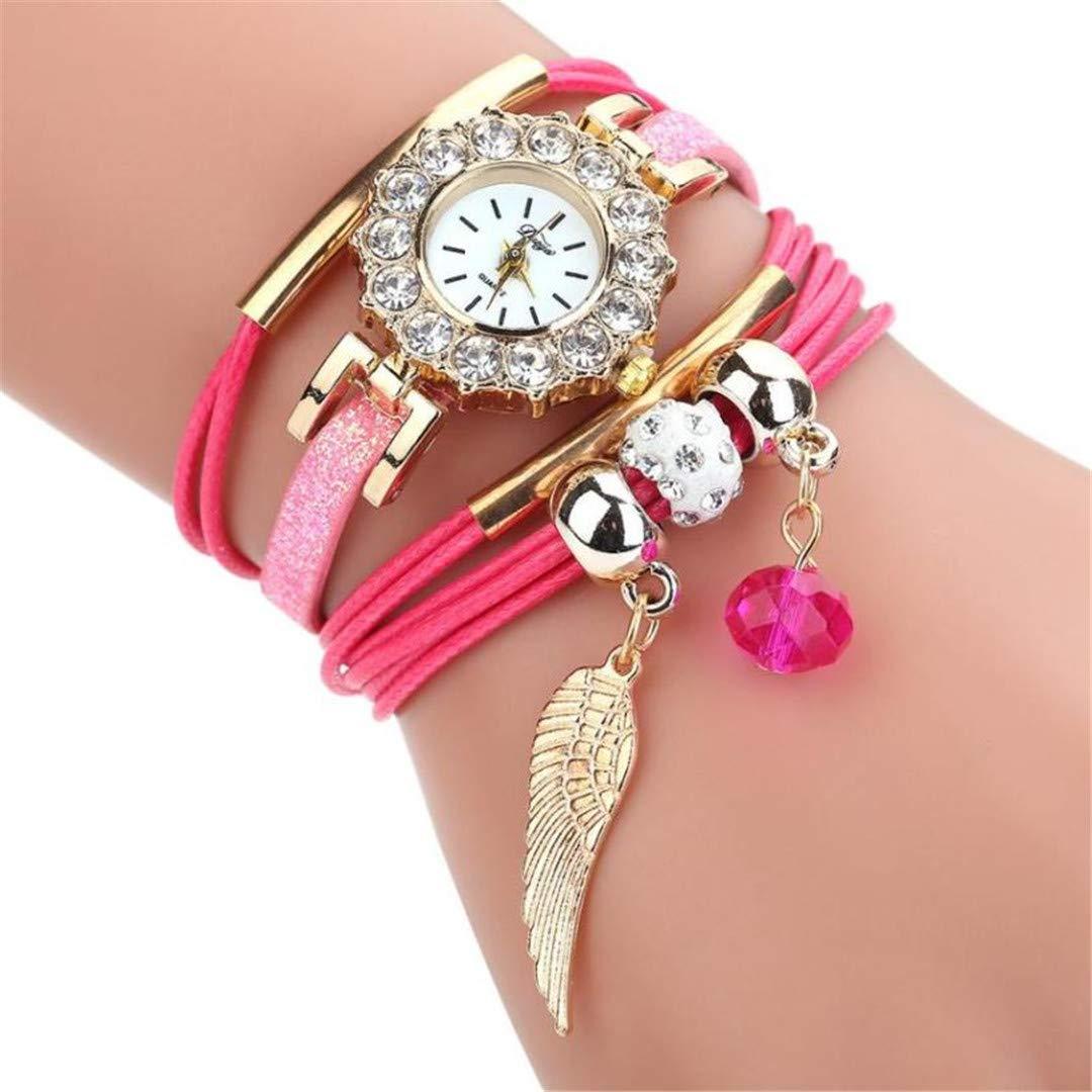 Amazon.com: Women Watches Crystal Pendant Rhinestone PU Leather Wrist Watch Fashion Ladies Watch Zegarek Damski NEW A: Beauty