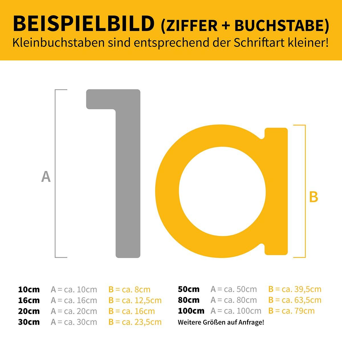 anthrazit pulverbeschichtet H: 160mm 4 RAL 7016 Thorwa/® Design Edelstahl Hausnummer modern Avant Garde Stil