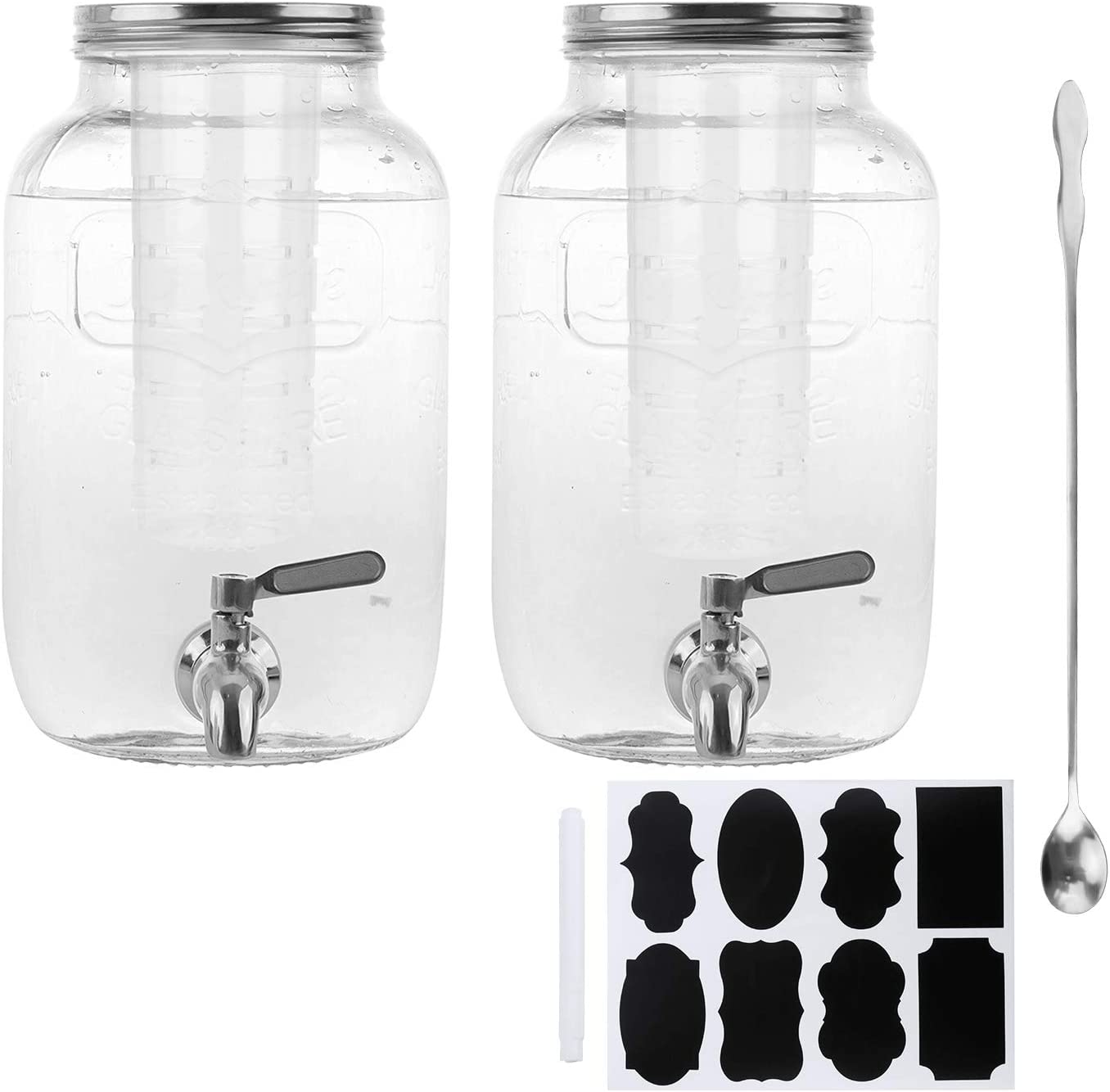 1 Gallon / 4000ml Clear Mason Jar With Lids, Airtight Glass Jars With Stainless Water Faucet and Ice Cylinder Perfect for Beer, Sun Tea, Coffee, Coke and Cold Drinks, 2 pack