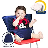 Baby High Chair Harness, Travel High Chair for Baby Toddler Feeding Eating, Portable Easy Seat with Adjustable Straps Shoulder Belt, Holds Up to 44lbs, Hand Wash Cloth Included