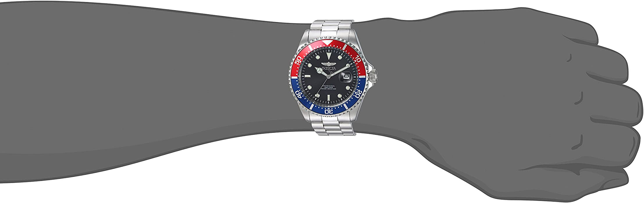 Invicta Men Pro Diver Quartz Diving Watch with StainlessSteel Strap Silver 14 Model 23384