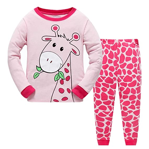 d30cf7de15 Girls Pyjamas Long Sleeve Children Christmas PJs Gifts 100% Cotton Sleepwear  for Toddler Age 1 to 7 Years  Amazon.co.uk  Clothing