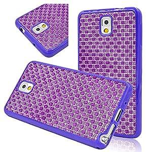 Seedan Samsung Galaxy Note 3 N9000 Case Purple - Bling Glisten Diamond Strass TPU Soft Gel Back Cover Skin Protector