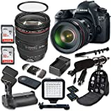 Canon EOS 6D 20.2 MP Full Frame CMOS Digital SLR DSLR Camera with EF 24-105mm f/4 L IS USM Lens + 2pc SanDisk 32GB Memory Cards + Battery Power Grip + Special Promotional Holiday Accessory Bundle