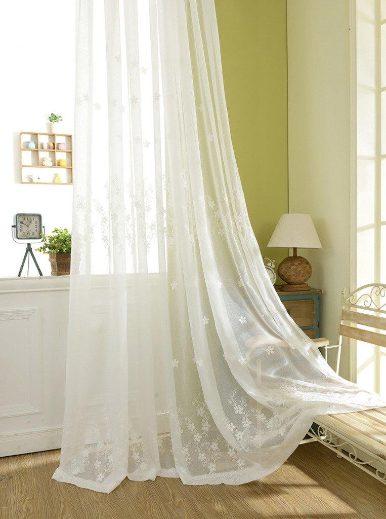 VOGOL Semi-Sheer Elegant Embroidered Solid White Rod Pocket Window Curtains/Drape/Panels/Treatment 54 x 84,Two Panels