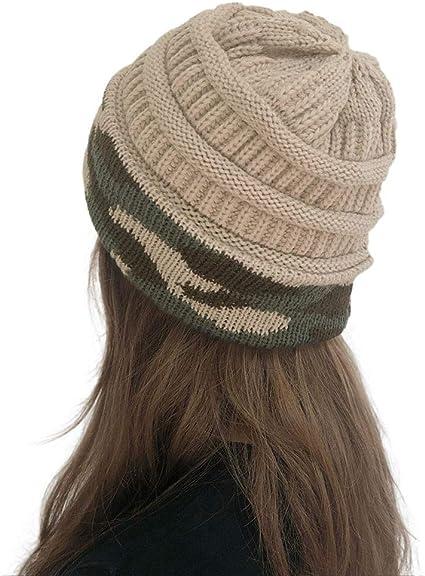 Damen Mütze Strickmütze Gestrickt Warm Wintermütze Haube Hijab Beanie Skimützen