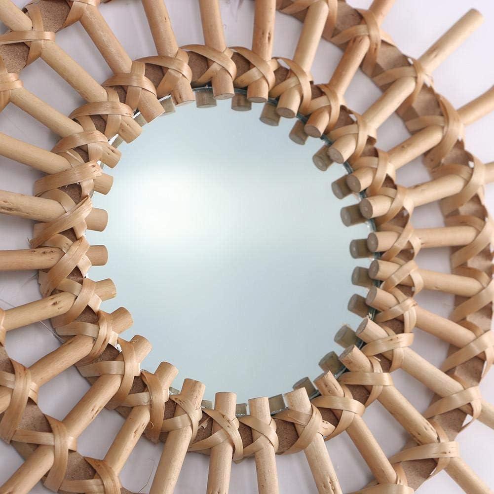 CARTEY Miroir De D/écoration dart Petit Rond Encadr/é Mur Montage Maquillage Miroir Miroir De Vanit/é en Rotin Parfait pour Chambre Ou Salle De Bains