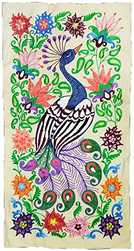 COLORFUL UZBEK SILK EMBROIDERY SUZANI MYTHIC BIRD T1028 by UzIkat