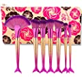 Scofieldly 7pc Makeup Brush Mermaid Mermaid 3 Generation Fish Tail Suit Beauty Tools With Cosmetic Bag-Hot Pink