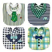 Hycurey 4-Pack Premium Baby Bibs Set - Waterproof Burp Cloths Teething Feeding Drooling Reversible for Babies Boys with Adjustable Snaps Green