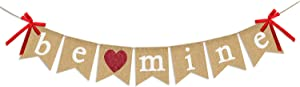 Be Mine Burlap Banner | Valentine's Day Decorations | Valentines Banner with Glitter Heart Sign | Be Mine Bunting Banner | Valentines Day Indoor Outdoor Home Office Hanging Decor