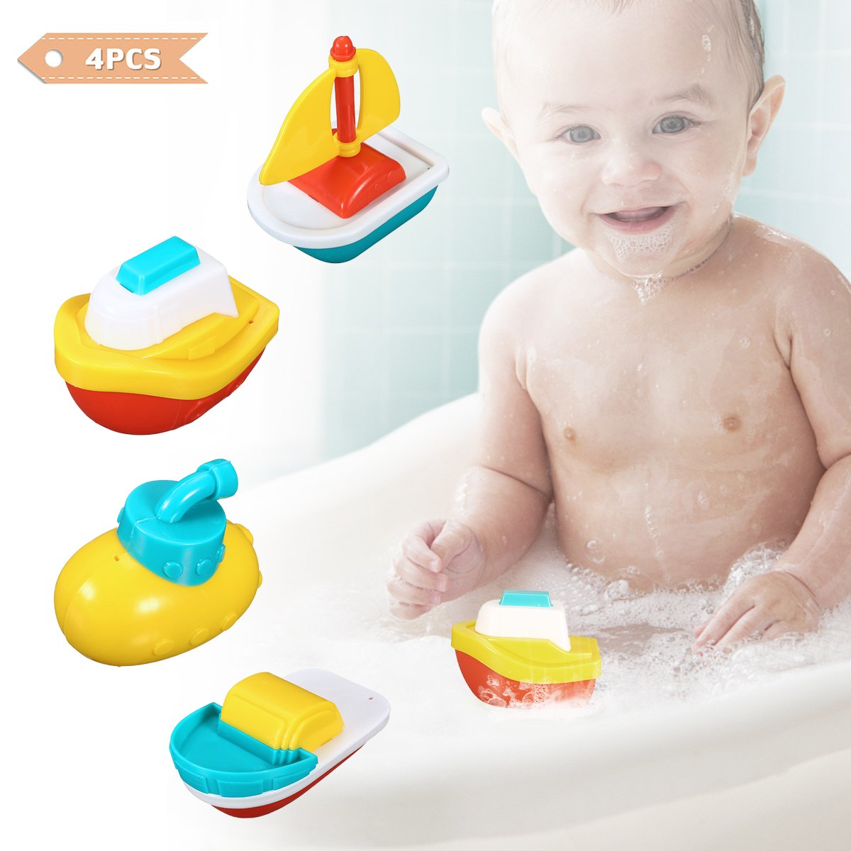 FUNTOK Baby Bath Shower Toys, Cartoon Bath Spray Toys Spray Station Bathtub Toy Water Sprinkler Toddler Youy
