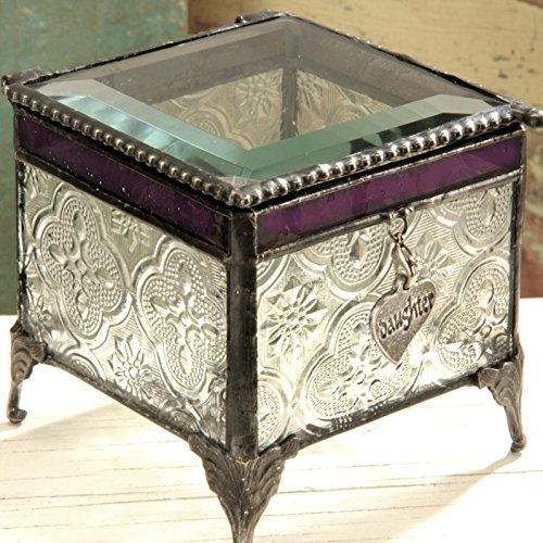 J Devlin 3x3 Vintage & Purple Glass Jewelry Keepsake Box with Daughter Heart Charm