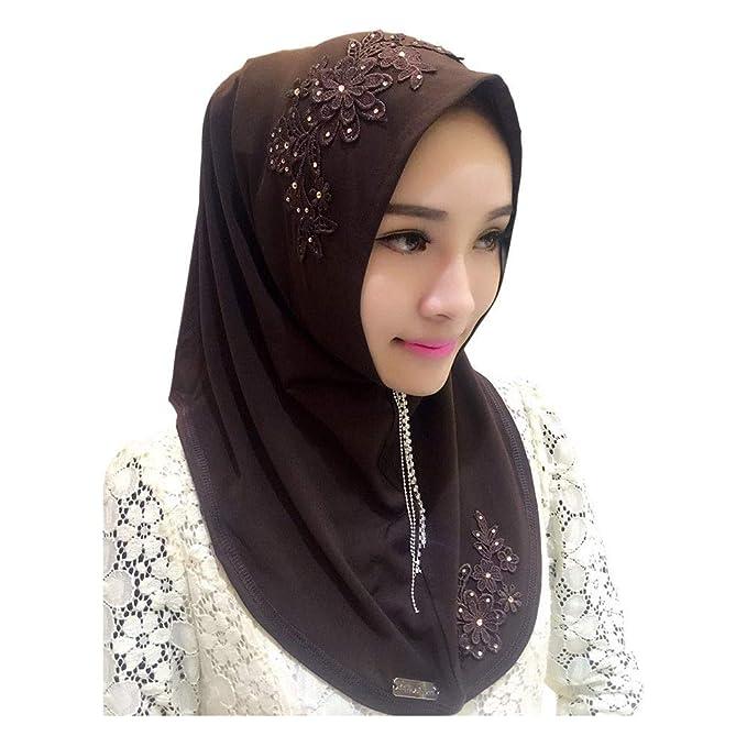 Meijunter Damen Muslim Head Scarfs Hijab Veils Spitzenstickerei Schal Arabischer Hindu J/üdischer Kopftuch Underscarf Headwrap